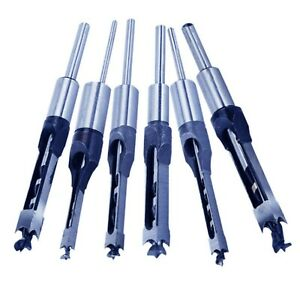 6pcs Woodworking Square Hole Mortise Chisel Drill Bits With 3 4 Shank Wood Cut