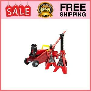 Torin Hydraulic Trolley Floor Jack Combo With 2 Jack Stands 2 Ton Cap