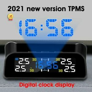Solar Tpms Car Tire Pressure Monitor System Automatic Clock Control Lcd Display