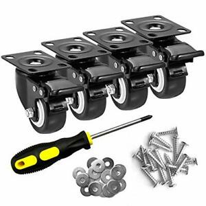 2 Caster Wheels Set Of Heavy Duty Casters With Brake No Noise Locking 4