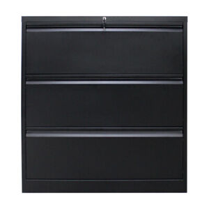 Lateral File Cabinet 3 Drawer Black