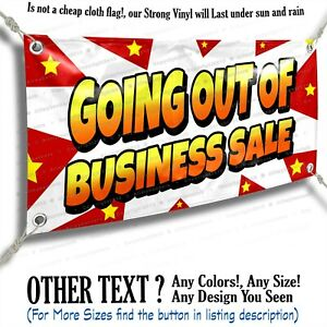 Going Out Of Business Sale Advertising Vinyl Banner Sign Star Flag