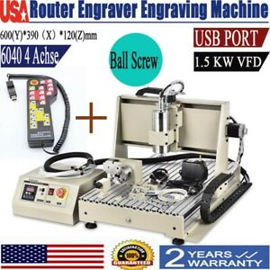 4 Axis 6040 Usb Cnc Router Engraver Engraving Milling Drilling Machine 1500w rc