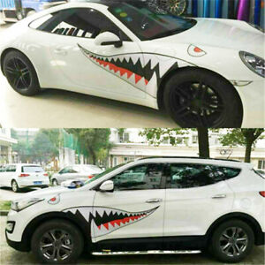 2pc 59 Shark Mouth Tooth Stickers Vinyl Exterior Decal For Car Side Door Fender
