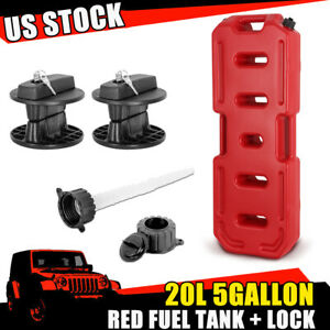 Red 20l Gallon Fuel Pack Gas Container Fuel Can W Lock For Jeep Offroad Polaris