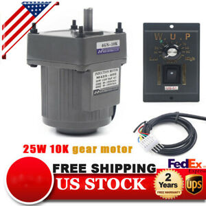 25w Ac110v Ac Gear Motor Electric Motor Variable Speed Controller 1 10 135rpm Us