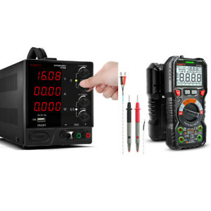 Regulated Dc Power Supply Grounded Switching Bench Source Ht118a Multimeter Pro