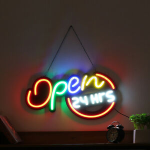 24 x13 Open 24hrs Led Neon Sign Light Display Store Cafe Bar Club Wall Decor