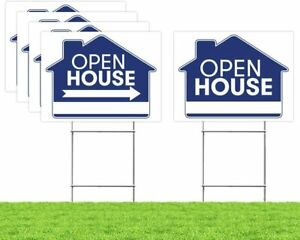 Open House Real Estate Signs upgraded 5 Double Sided Blue Property Yard Sign