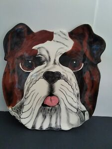 """Dogs By Nina Lyman Large Serving Ceramic plate 13.5"""" Hand painted Rare $30.99"""
