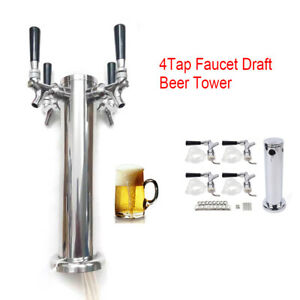 Top 304 Stainless Steel 4 Tap Faucet Draft Beer Tower Homebrew Bar for Kegerator