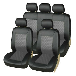 9pc Car Seat Cover Pu Leather Accessories Protector Universal Full Set 5 Sits Us Fits 2008 Honda Civic