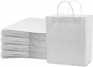 White Paper Bags With Handles 10x6 75x12 Paper Shopping Bags Bulk Gift