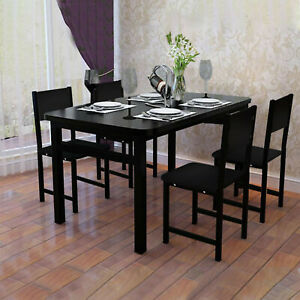 5 Piece Kitchen Dining Table Set With Wooden Table 4 Chairs Furniture Black