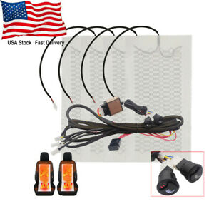 Universal Carbon Fiber Car Seat Heater Pads 12v 3 Level Heated Round Switch Kit