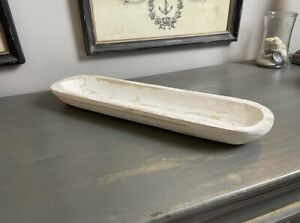 Carved Wooden Dough Bowl Primitive Wood Tray Trencher Baguette Decor White 19 5