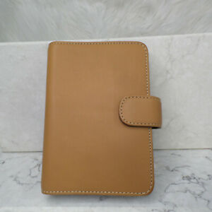 Vintage Coach Brown Camel Soft Leather Ring Organizer Contact Address Book