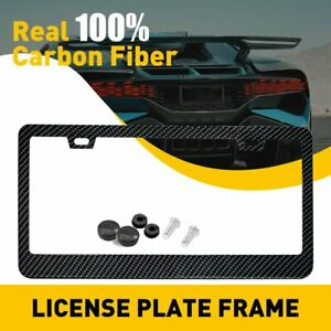 Real 100 Carbon Fiber License Plate Frame Tag Cover Orignal 3k With Free Caps