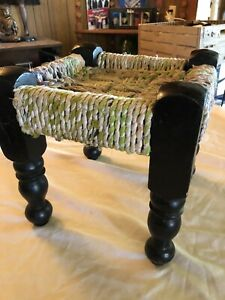 Vintage Wooden Foot Stool Child S Stool Woven Cloth Rope 10 Tall