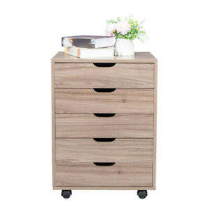 Five Drawing Mdf With Pvc Wood Wooden Filing Cabinet Storage For Bedroom Gray