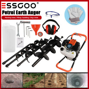 52cc 2 stroke Earth Auger Gas Powered Post Hole Digger Machine 3 Drill Bits Us