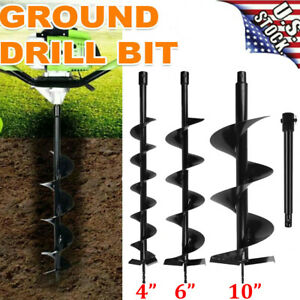 4 6 10 Earth Auger Drill Bits Set extension Bar For 52cc Gas Post Hole Digger