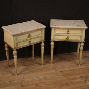 Pair Of Night Stands Lacquered Marble Top Antique Style Louis Xvi Tables