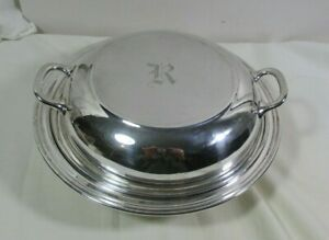 Manchester Sterling Silver Round Covered Serving Dish Mono R 1046 464 7 Grams