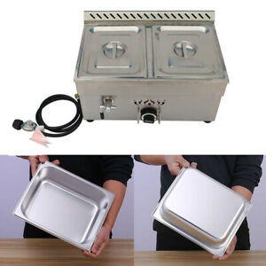 2 Pans Lp Gas Food Warmer Commercial Steamer Steam Table Pans