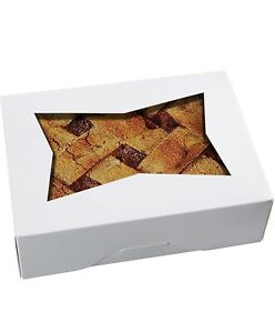 25pcs 8 Inch Cookie Boxes With Window Lid White Cardboard Pops Treat Gift Bakery