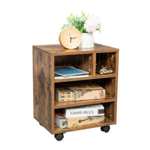 Mdf Four Grids With Four Wheels Wooden Filing Storage Cabinet Antique Wood Color
