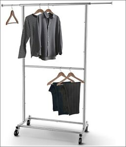 Heavy Duty Commercial Garment Rack Rolling Collapsible Clothing Double Rod Silve
