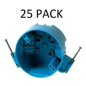 25 Pack B520a 4 Ceiling Round Electrical Box New Work With Nails 20 Cubic Inch