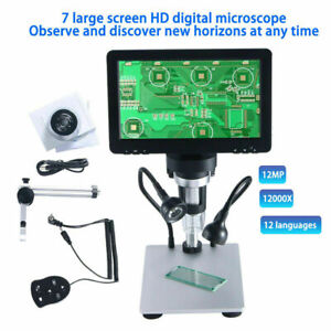 Handheld 7 Lcd Digital Microscope 12mp Zoom Video Magnification Amplification