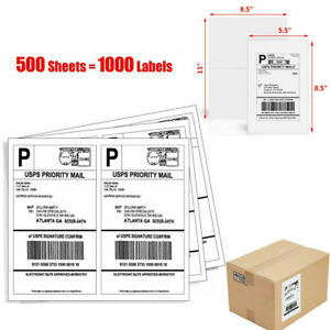 8 5 X 5 5 1000 Half Sheet Self Adhesive Address Shipping Labels For Usps Fedex
