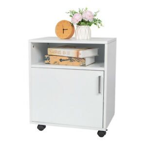 Single Door Storage Cabinet Three layer Mdf With Pvc Wooden Filing Cabinet White