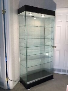 Used Glass Tower Display Showcase 15 Shelf Levels Store Fixture Lights