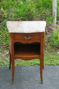 French Carved Inlay Marble Top Nightstand Side End Bedside Table 2221