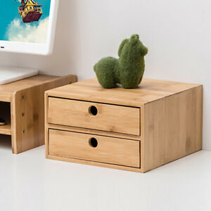 Two Layer Bamboo Desk Organizer Drawer Desktop Storage Box Wood Table Office New