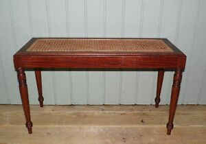 Vintage Federal Style Caned Piano Bench Vanity Stool Mahogany Entry Table
