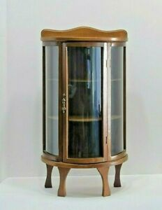 Vintage Wood Curved Glass Curio Style Display Cabinet