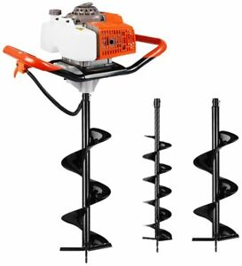63cc 3 4hp Engine Earth Digger Gas Powered Dig Post Hole With 2 Drill Auger Bits