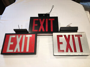 Vintage Lighted Exit Signs No Battery Back Up Believe They re 80 s And Older