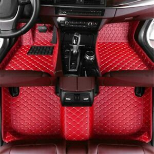 Car Floor Mats Fit For Dodge Ram 1500 2011 2017 Non Slip Leather Liners Red