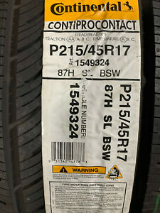 2 New 215 45 17 Continental Conti Pro Contact Tires