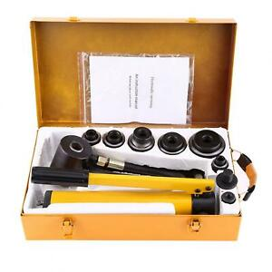 10 Ton Manual Hydraulic Hole Punch Opener Kit 6 Dies 22mm To 60mm Knockout Punch