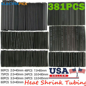 381x Heat Shrink Tubing Wire Wrap Assortment Set Electrical Connection Cable Us