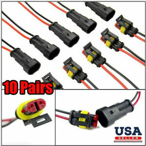 10 Sets 2 Pin Way Car Waterproof Male Female Electrical Wire Connector Plug Kit
