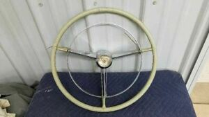 1957 Buick Steering Wheel W Horn Ring Button Original 801967