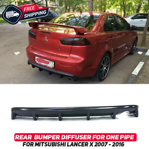 Rear Bumper Diffuser For Mitsubishi Lancer X 07 16 Pad Lip Body Kit For One Pipe